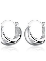 abordables -pendientes redondos de plata 925 fiesta de bodas elegante estilo femenino