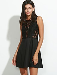 cheap -Women's Lace Sexy Lace Cute Plus Sizes Inelastic Sleeveless Above Knee Dress (Chiffon/Lace)