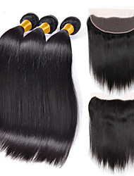 cheap -3 bundles indian virgin hair weft silk straight with 1pcs free part 13x4 lace frontal closure natural black hair extensions