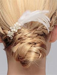 krystal efterligning perle fjer hår kamme hovedstykke elegant stil