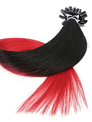 Neitsi 20'' 50g/lot 1g/s Ombre Pre bonded Nail U Tip Fusion  Human Hair Extensions 100% Remy T1-Red#