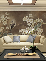 cheap -JAMMORY Art DecoWallpaper For Home Wall Covering Canvas Adhesive required Mural Dark Brown Bird XL XXL XXXL