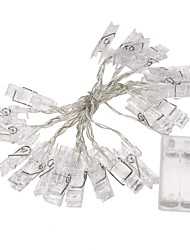 cheap -1Pc 2M Mini 20 Led 3Xaa Battery Card Photo Clip String Lights Christmas Lights New Year Party Wedding Home Decoration Fairy Lights Yellow/White/Multi