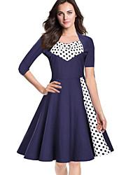 Gaine Robe Femme Grandes Tailles Sophistiqué,Imprimé Col Carré Mi-long Manches ¾ Bleu Noir Coton Polyester Printemps Taille Normale