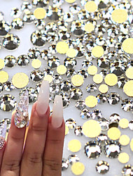 1400pcs/pack 3D Nail Art Crystal Glass Rhinestones Clear Color Gold Back Flatback Diamond Beauty Decorations Crystal