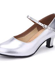 Damer Jazz Glimtende Glitter Læder Hæle Træning Begynder Indendørs Udendørs Optræden Spænde Personligt tilpassede hæle Guld Sort Sølv
