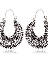 Europe Ancient Silver Folk Style Earrings Vintage Metal Braided U Shaped Earrings Flowers Exaggerated