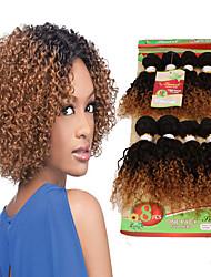 Недорогие -Бразильские волосы Кудрявый Кудрявое плетение Натуральные волосы Омбре Ткет человеческих волос Расширения человеческих волос / 8A