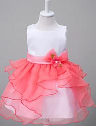 Girl's Beach Patchwork Dress Summer Sleeveless White Beige Purple Red