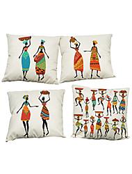 "cheap -Set of 4 National Style Linen Pillowcase Africa Original People Life(18""*18"")"