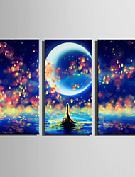 E-HOME Stretched LED Canvas Print Art Fantastic Sea View LED Flashing Optical Fiber Print Set of 3