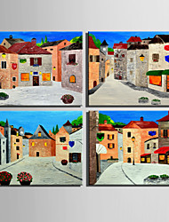Mini Size E-HOME Oil painting Modern Small Town Scenery Pure Hand Draw Frameless Decorative Painting