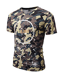 Masculino Camiseta Para Noite Casual Férias Boho Moda de Rua Punk & Góticas Primavera Verão,Estampado Colorido Poliéster Decote VManga