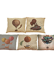 Set of 5 Retro balloon pattern Linen Pillowcase Sofa Home Decor Cushion Cover
