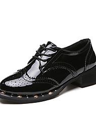 Feminino-Mocassins e Slip-Ons-sapatos Bullock-Rasteiro-Preto-Couro-Escritório & Trabalho Festas & Noite