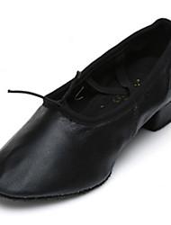 """Women's Ballet Leatherette Heel Practice Beginner Indoor Performance Low Heel Black Red Blushing Pink 1"""" - 1 3/4"""" Customizable"""