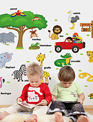 Kindergarten School Animal Words Teaching Wall Stickers Cartoon Zoo Children's Bedroom Wall Decals Home And Garden