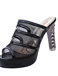 cheap -Women's Sandals Summer Sandals PU Casual Chunky Heel  Black / White / Silver