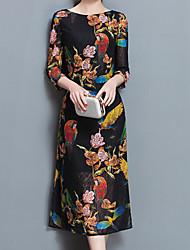 preiswerte -Damen Etuikleid Kleid-Ausgehen Party/Cocktail Übergröße Retro Einfach Chinoiserie Jacquard Rundhalsausschnitt Midi ¾-Arm Schwarz Andere