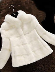 cheap -Women's Plus Size Casual Fur CoatSolid Stand Long Sleeve Winter Red / White / Black / Brown / Gray Faux Fur / PU Medium