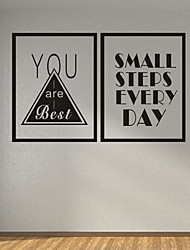 AYA DIY Frame Wall Stickers Wall Decals Small steps Every Day PVC Wall Stickers 40*30cmX2