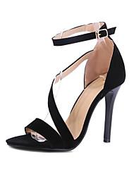preiswerte -Damen Schuhe Vlies Sommer Komfort / Knöchelriemen / Club-Schuhe Sandalen Walking Stöckelabsatz Offene Spitze Schnalle Schwarz / Rot / Hochzeit / Party & Festivität / Party & Festivität