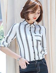 Really making 2017 spring new Women Korean Fan Slim striped chiffon shirt female backing shirt
