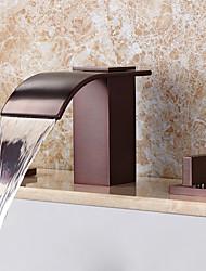 billige -Håndvasken vandhane - Vandfald / Udbredt Olie-gnedet Bronze Udspredt To Håndtag tre huller
