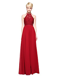 cheap -A-Line Jewel Neck Floor Length Chiffon Lace Bridesmaid Dress with Appliques Pleats by LAN TING BRIDE®