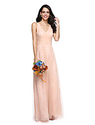 cheap -Sheath / Column V Neck Floor Length Lace Tulle Bridesmaid Dress with Ruched Criss Cross by LAN TING BRIDE®