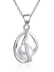 cheap -Women's Pearl Pearl Sterling Silver Pendant Necklace  -  Dangling Style Oval Silver Necklace For Christmas Gifts Wedding Party