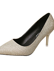 Women's Heels Comfort PU Spring Summer Casual Comfort Low Heel Gold Black Silver Under 1in