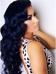 economico -Donna Brasiliano Cappelli veri 360 frontale 150% Densità Con ciuffetti Ondulato naturale Onda sciolta Onda naturale Parrucca Nero Nero
