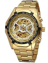 Недорогие -FORSINING Муж. Наручные часы Механические часы С автоподзаводом С гравировкой Нержавеющая сталь Группа Аналоговый Роскошь Мода Золотистый - Золотой Белый Черный
