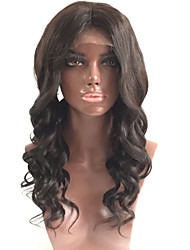 Ženy Paruky z přírodních vlasů Přírodní vlasy Se síťovanou přední částí Krajka vpředu 130% Hustota Vlnité Paruka Černá Krátký Střední