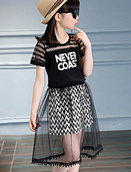 Girl Casual/Daily Striped Print Patchwork Sets,Cotton Polyester Summer Short Sleeve Clothing Set