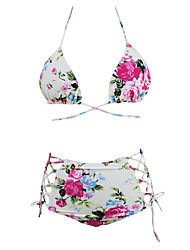 Women's Strappy Floral Print Retro High Waist Swimsuit