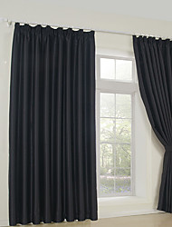 cheap -Rod Pocket Grommet Top Tab Top Double Pleat Two Panels Curtain Neoclassical Solid Bedroom 65% Rayon/35%Polyester Rayon Material Blackout
