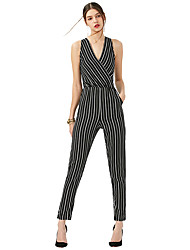 Women's Fine Stripe|Backless Deep V Slim Sexy Striped Backless Cut Out Sleeveless Jumpsuit
