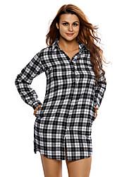 Women's Plaid Long Sleeves Shirt Dress