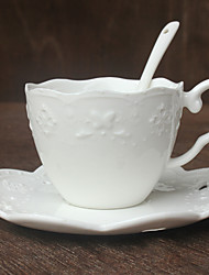 1 PC Embossed Lace Butterfly Coffee Cup Saucer Cup Set Ceramic Cup Tea Set