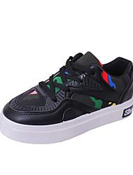 Women's Sneakers Comfort PU Spring Casual Walking Comfort Lace-up Flat Heel White Black 2in-2 3/4in