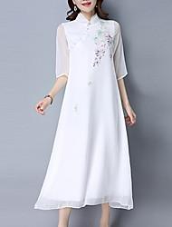 economico -Largo Vestito Da donna-Per uscire Vintage Stoffe orientali Con stampe Colletto alla coreana Medio Mezze maniche Bianco Poliestere EstateA