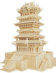 cheap -Wooden Puzzles Famous buildings Chinese Architecture House Professional Level Wood Christmas Carnival Children's Day Girls' Boys' Gift