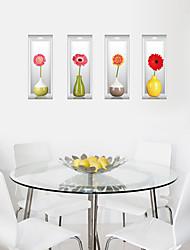 cheap -Fashion 3D Three-Dimensional Vase Wall Stickers Sunflower Creative DIY Living Room Bathroom 3D Wall Stickers Environmental Wall Decals