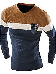 Normal Pullover Homme Décontracté / Quotidien simple,Jacquard Bleu Gris Coeur Manches Longues Polyester Printemps Automne Moyen