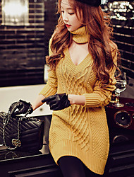 DABUWAWA Women's Choker Going out Casual/Daily Holiday Street chic Sophisticated Shift Sheath Sweater Dress,Solid V Neck Above Knee Long Sleeve