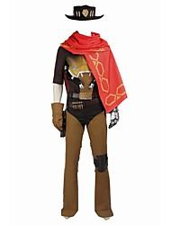 Вдохновлен Overwatch Джесси видео Игра Косплэй костюмы Косплей Костюмы Косплей вершины / дна Контрастных цветов Жилетка Рубашка Перчатки