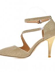 Mujer-Tacón Stiletto-Confort-Tacones-Oficina y Trabajo Vestido Fiesta y Noche-Semicuero-Oro Plata