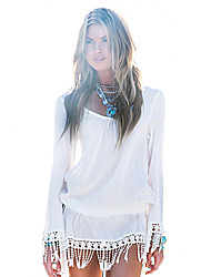 Women's Boho/Tassel Casual Pure White Long Sleeve Beach Mini Dress with Tassels